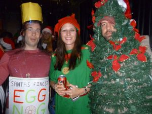 Very original costumes here: Santa's best eggnog, Elf, and Christmas tree