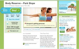 groupon - fitness classes