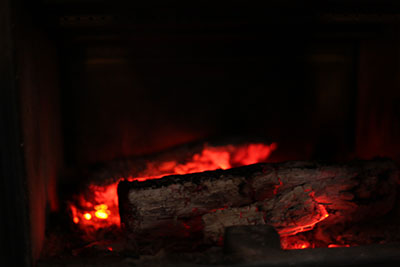 logs at fireplace